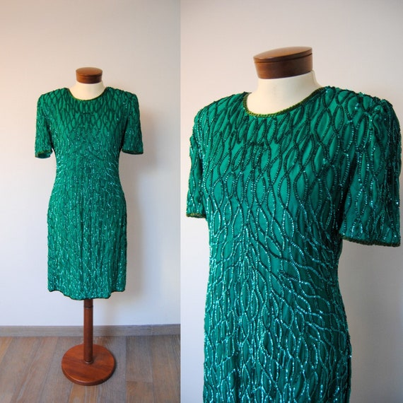 80s dress, 1980s dress, 80s green dress, vintage p