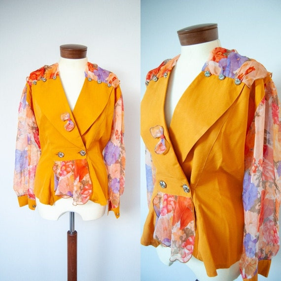 80s blouse, 1980s blouse, printed blouse, colorful