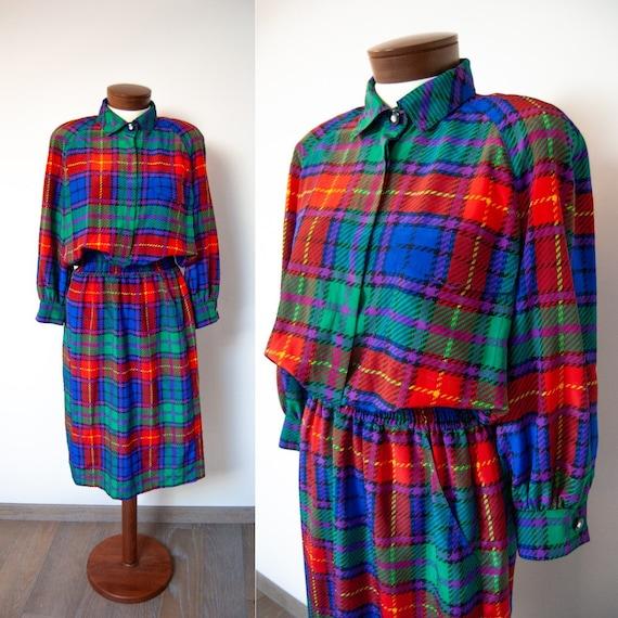 80s dress, 1980s dress, 80s tartan dress, tartan d