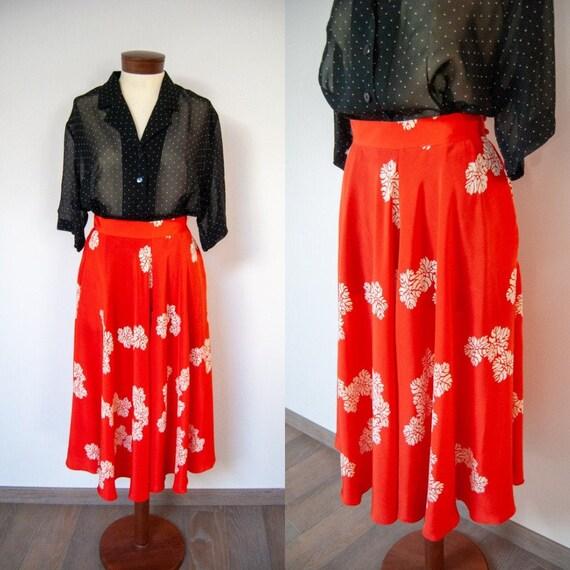 silk skirt, 90s midi skirt, printed skirt, summer