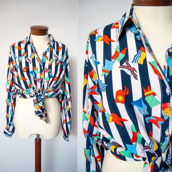 Nautical Mod top Striped blouse Tank top 80s Patriotic blouse