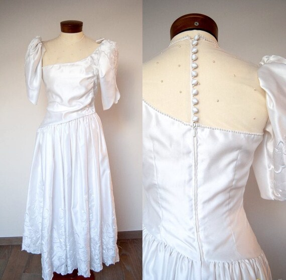 80s wedding dress, vintage wedding dress, 1980s we