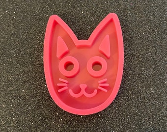 Cat Head Silhouette Silicone Mold Regular Edges or Rounded Edges  **Please Read Description Before Placing Order**