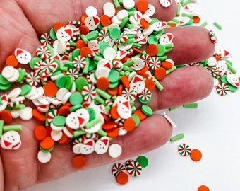 Christmas Green Red Santa Claus Mix Sprinkle Slime Polymer Clay Slice Slices Fake Bake Nail Art Faux Craft Ships From USA