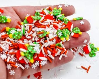 Christmas Confetti Snowflake Santa Tree Mix Sprinkle Slime Polymer Clay Slice Slices Fake Bake Nail Art Faux Craft Ships From USA