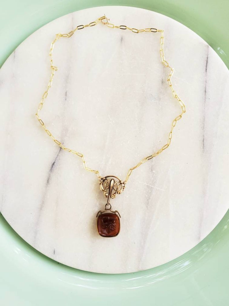 Victorian watc pin with antique intaglio accent necklace