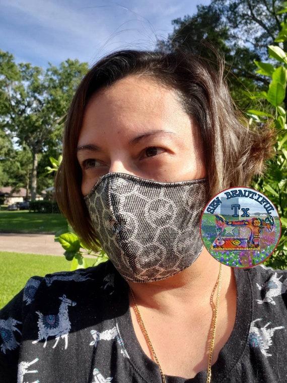 Handmade Michael Kors Face Mask Black Silver Mk Face Mask Etsy