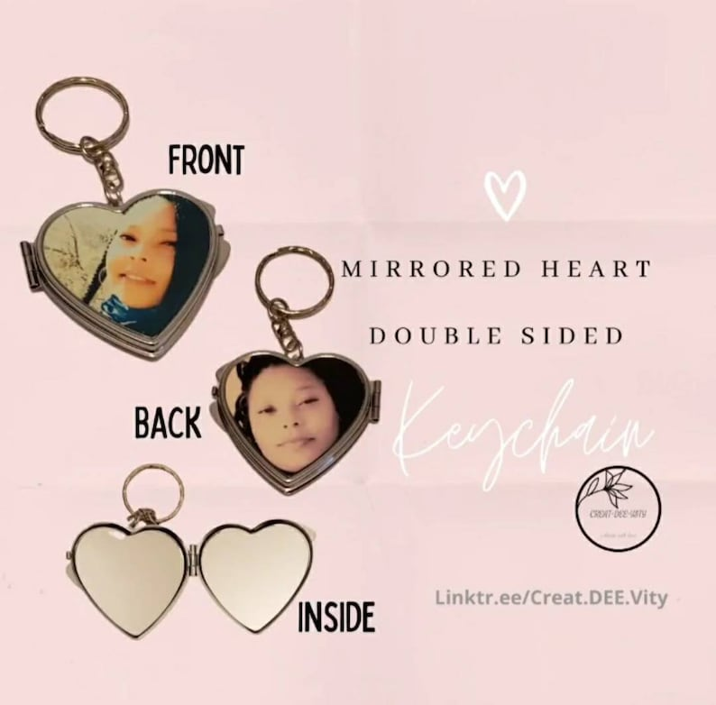 Picture keychain. Personalized heart keychain Photo keychain Double-sided mirror photo heart keychain Customizable keychain with mirror