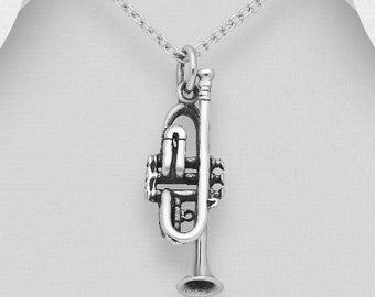 Trumpet Necklace Miniblings Orchestra 60cm Box Silver Plated