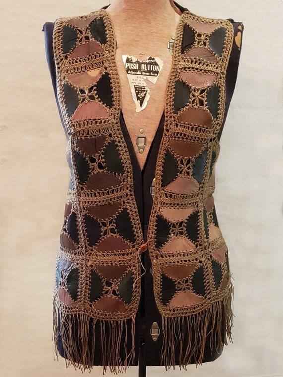 Vintage 1970s Crochet Leather Fringe Vest