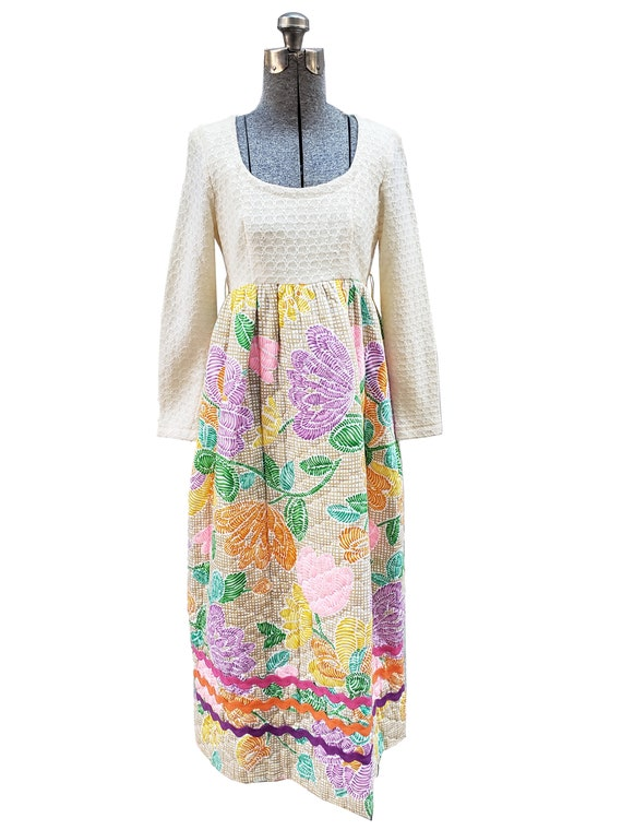 Vintage 1970s Peck & Peck Floral Quilted Maxi Dres