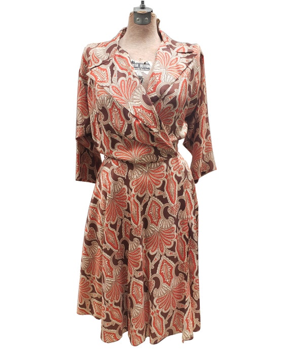 Vintage 1950s Robert Rosenfeld Print Wrap Dress
