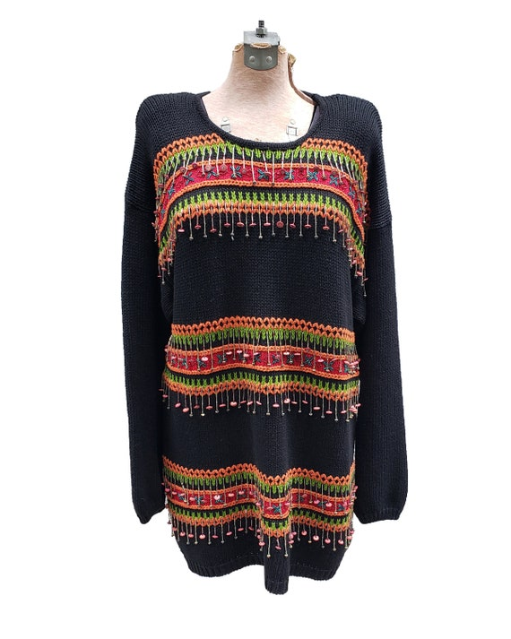 Quirky Vintage 1980s Colorful Beaded Fringe Sweate