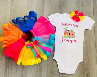 4 5 bodysuit and matching shirt in Size Newborn  1 yr 8 Birthday Fun Party Fun 7 2 3 Perfect in Coco Inspired Set Tutu 6