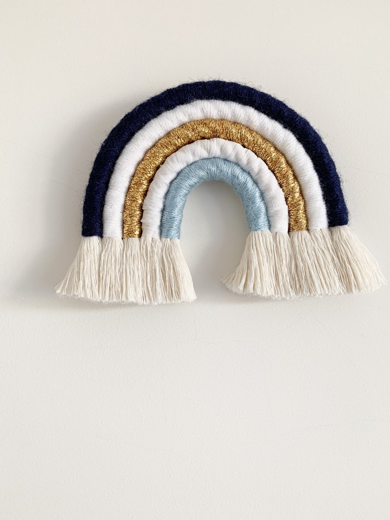Macrame rainbow wall hanging MAJESTIC navy blue white gold blue nursery kid\u2019s room wall decor boho style