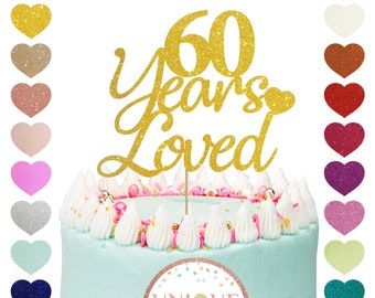 Double Color Gold and Silver Glitter Cheers to 60 Years 60th Wedding Anniversary Party Decoration Supplies Happy 60th Birthday 60 Years Blessed 60 Years Loved Cake Topper with Loving Heart