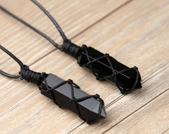 Black Obsidian Necklace-Natural Obsidian Crystal Hexagon Point Wrapped Pendant Necklace-Healing Meditation Protection Stress Relief Necklace