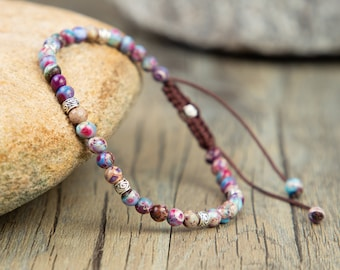 Natural Galaxy Sea Sediment Japser Stone Bracelet-Healing Meditation Balance Grounding Bracelet-Friendship Yoga Beads Strength Bracelet Gift