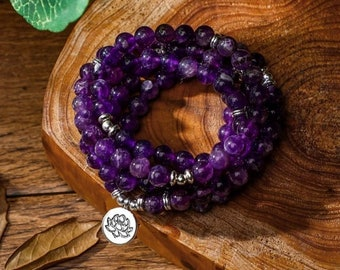 CALMING MALA Beads Necklace with Amethyst  Knotted Long Amethyst Necklace  Yoga and Meditation Gifts  Gifts for Wife and Girlfriend