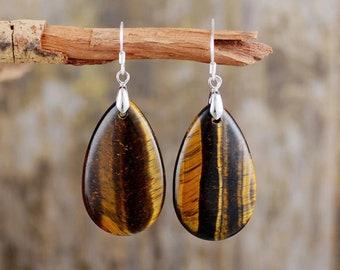 Chakra jewelry Anti-stress earrings Mother/'s day gift Tigre eye jewelry Gemstone jewelry Reiki jewelry Tigre eye earrings