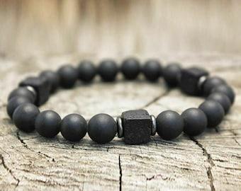 Shiny Black Onyx ~ Choose a String Color ~ Faceted Black Onyx Bracelet Gemstone Bracelet Minimalist Bracelet Grounding Custom Bracelet