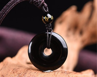 Sterling Silver Obsidian Pendant  Silver Sheen  Obsidian Grounded Self Protection Stone