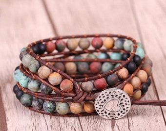 Bead Leather Wrap Bracelet-Jasper Beaded Charm Bracelet-Healing Boho Stacking Bracelet- Natural Love Inspired Bracelet-Bohemian Bracelet