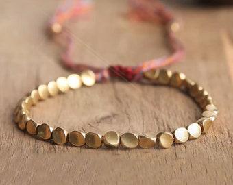 Tibetan Copper Good Luck Friendship Bracelet-Wealth and Prosperity Abundance Money Bracelet-Gold Rope Healing Spiritual Protection Bracelet