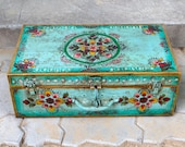 Antique iron box Rare iron hand painted box Iron box suitcase Rare and antique trunk with hand painting Iron dowry chest painted