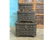 Wooden and Iron Chest set of 3 Wooden and Iron chest Indian wooden chest Dowry chest Wedding chest Hope chest Indian furniture