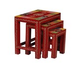 Wooden Indian ethnic nesting table set of 3, wooden stool set, colorful ethnic tables coffee and end tables side table living room furniture