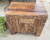 Wooden carved Indian dowry box, vintage trunk, blanket box, wedding chest, wooden Bhakra box, storage chest, Indian furniture and decor