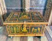 Antique Hand painted wooden Indian box, wooden storage box, jewellery box, miniature painting box, Indie and Furniture and Handicrafts