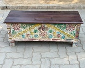 Wooden side chest Wooden beautiful hand made chest Wooden carved dowry chest Wooden coffee table Indian furniture distressed chest