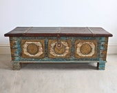 Wooden side chest Wooden beautiful hand made chest Wooden brass dowry chest Wooden coffee table Indian furniture blue distressed chest