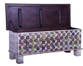 Indian storage trunk, Rustic Indian trunk, dowry chest, hope chest, blanket box, tv stand, coffee table furniture, home and living