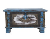 Wooden distressed blue Indian trunk , coffee table box, storage box, dowry chest, wedding box, brass box, coffee table trunk, blanket box