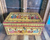 Antique Indian hand painted cash box Indian trunk box, jewelry box, Wedding trunk dowry chest Wooden painted box wedding box