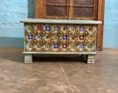 Distressed Indian storage trunk, Rustic Ethnic trunk, dowry chest, hope chest, blanket box, end table, coffee table furniture, home living
