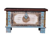 Wooden storage side chest beautiful hand made chest brass dowry box Wooden coffee table Indian furniture blue distressed wedding trunk