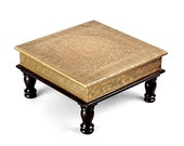 Brass and wooden Indian chowki, low stool, ottoman, bajot, temple stool, golden low stool, Indian furniture, foot stool, low table
