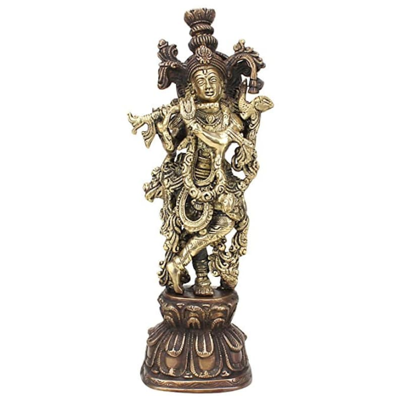 Antique Brass Lord Krishna Bhagwan Statue for Home Entrance Gallery Murti Puja Decor Religious Showpiece Gift Large Idol Height 13 Inches