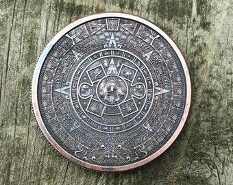 1 oz Copper Round EDC Challenge Coin Aztec Calendar Mayan Antique Finish Patina Worry Coin