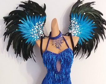 TURQUOISE Feather WingsBackpack-Samba Costumes Carnival-Mardi Gras-Show Girl Vegas Notting Hill Pride Parade Brazilian Carnaval-BM-DFW-T