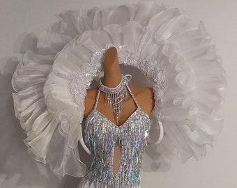 All WHITE Feather Collar-Samba Costumes Carnival-Mardi Gras Show Girl Las Vegas Notting Hill Pride Parade Brazilian Carnaval BM-FC-Ww