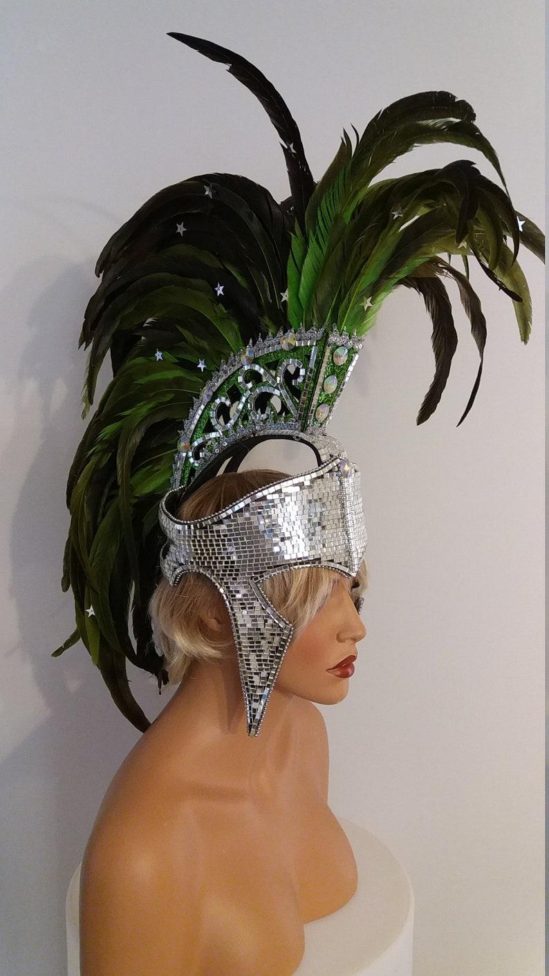 Lime GREEN Mohawk Feather Headpiece-Samba Costumes Spartan-Gladiator-Carnival-Mardi Gras-Show Girl-Cabaret-Vegas Rave Drag Brazilian-KS-MD