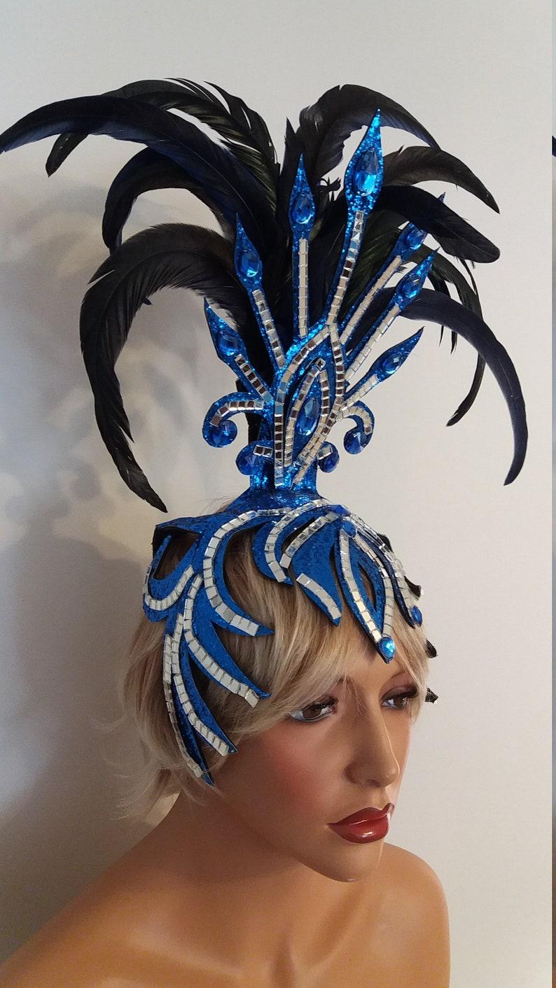 BLUE MirrorFeather Headpiece-Headdress-Samba Costumes Carnival-Mardi Gras-Show Girl-Rio Las Vegas Rave Gay Brazilian Carnaval-KS-HD1-Bl