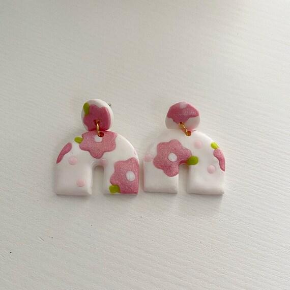 Upside Down Rainbow Polymer Clay Dangle Earrings Posey Dangles