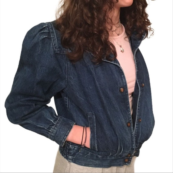 Vintage 80s Puff Puffy Sleeve Jean Boho Denim Jack