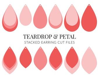 Teardrop & Petal Stacked Earring SVG, Leather Earrings svg, Earring Template SVG, Cricut Cut Files, Teardrop Earring SVG (117)